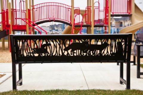 Palladium Park public art bench